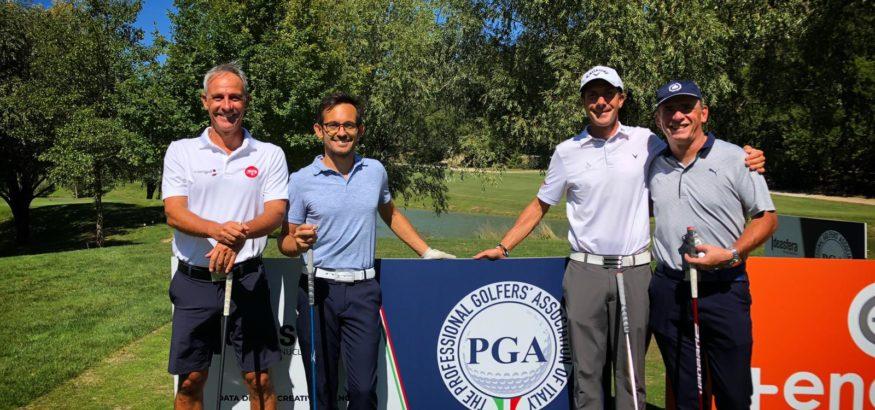 Davide Zarotti, Vittorio Andrea Vaccaro, Edoardo Nobili ed Enzo Bartolucci sul tee della 1 del Campionato PGA - Antognolla Golf Club